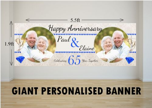Personalised GIANT Large 65th Sapphire Wedding Anniversary PHOTO Poster Banner N28